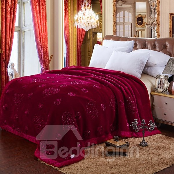 Top Class Heart-shape Embroider Super Thick Rosy Raschel Blanket