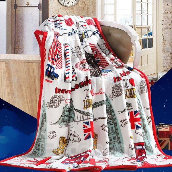 London Landmark Print Super Cozy Flannel Blanket