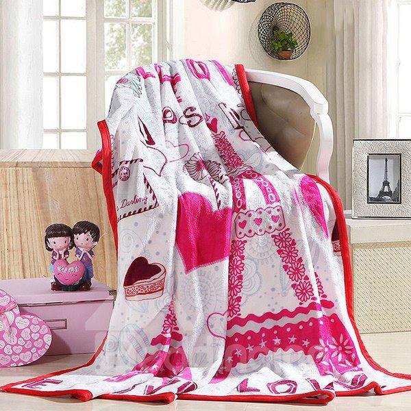 Romantic Heart-shape Print Fluffy Warm Flannel Blanket