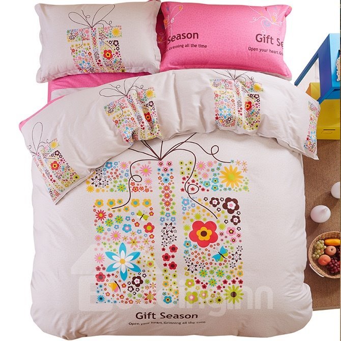 Gift Season Colorful Flowers Print Kids 4-Piece Duvet Cover Set