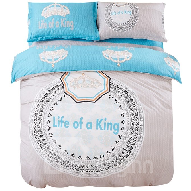 Life of A King 100% Cotton Kids 4-Piece Duvet Cover Set