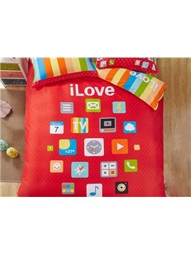100% Cotton Trendy Mobile Apps Print 4-Piece Duvet Cover Set