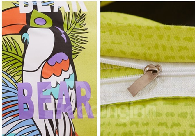 Bouncy Colorful Bird Print Kids 4-Piece Duvet Cover Set