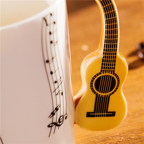 Creative Musical Theme Guitar Design Handle Ceramic Coffee Mug