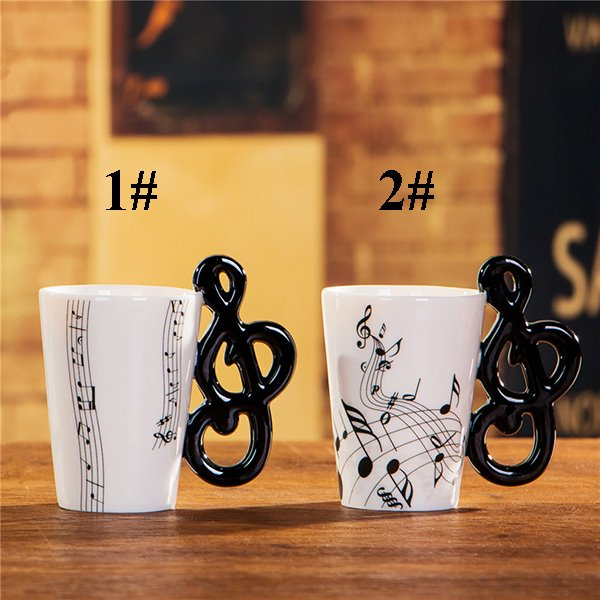 Creative Musical Note Design Handle Ceramic Coffee Mug