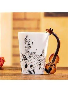 Creative Musical Theme Violin Design Handle Ceramic Coffee Mug