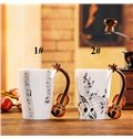 Creative Musical Theme Violin Design Handle Ceramic Coffee Mug