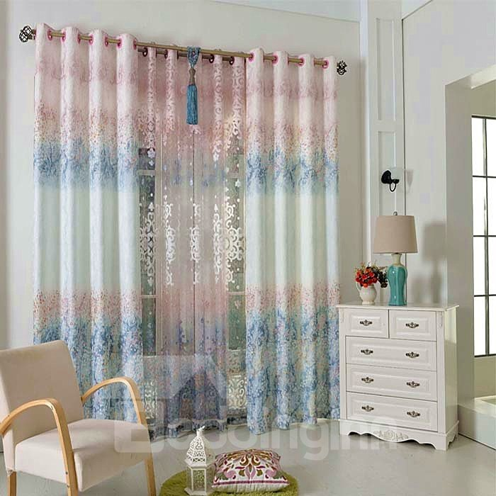 Lovely Blue Floral Pattern Grommet Top Curtain