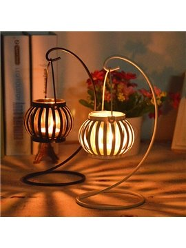 Creative Pumpkin Design Iron Candle Holder