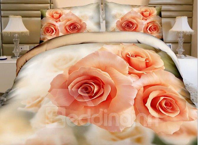 Three Aurantia Roses Print Cotton 4-Piece Duvet Cover Sets
