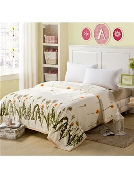 Graceful Fresh Flying Dandelion Print Beige Blanket