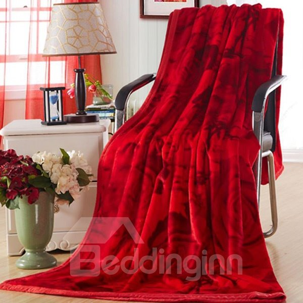 Super Warm Romantic Roses Print Red Blanket