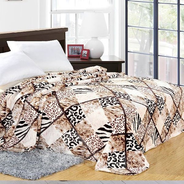 Chic Leopard Plaid Design Cozy Polyester Blanket
