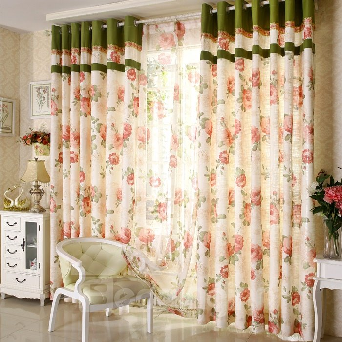 Romantic Pastoral Style Red Floral Pattern Pastoral Style Grommet Top Curtain For Living Room