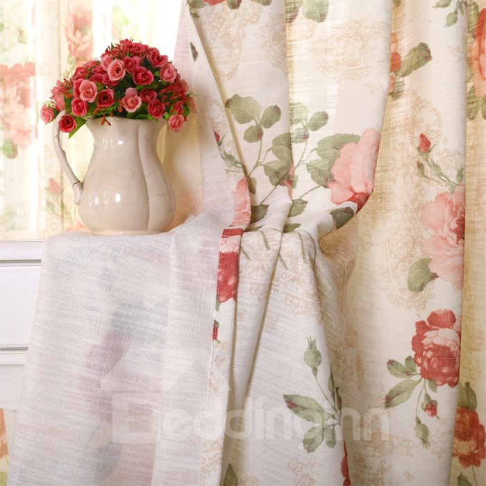 Romantic Pastoral Style Red Floral Pattern Grommet Top Curtain