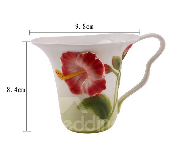 Gorgeous 3D Flower Design Ceramic Coffee Cup