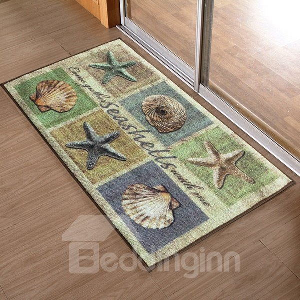 European Vintage Beach Style Seashell and Starfish Pattern Anti-Slipping Doormat