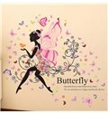 Colorful Butterflies Girl with Wings Print Wall Sticker