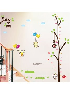 Bear with Balloon and Tree Print Kids Height Measurement Wall Decal