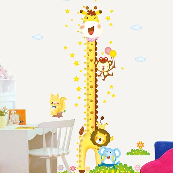Lovely Tall Giraffe Print Height Measurement Kids Wall Decal