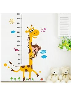 Cute Giraffe Print Height Measurement Kids Wall Sticker