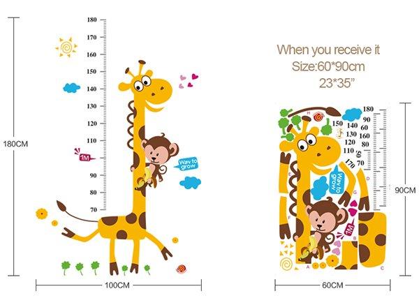 Cute Giraffe Print Height Measurement Kids Wall Sticker
