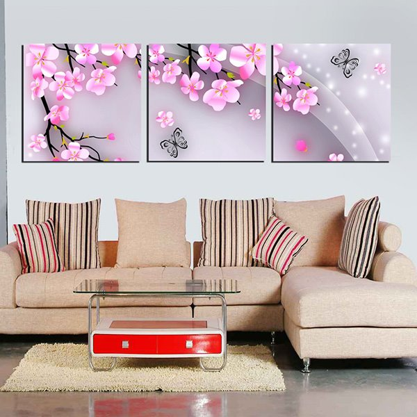Lovely Little Pink Flowers and Butterfly 3-Panel Canvas Art Deco Posters Prints
