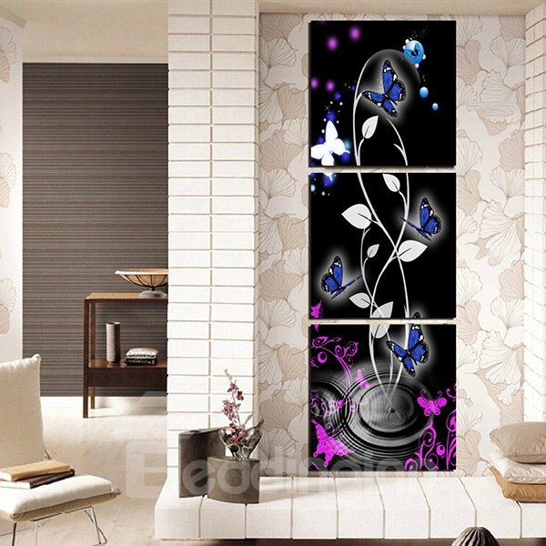 Amazing Abstract Flowers and Butterfly 3-Panel Canvas Wall Art ...