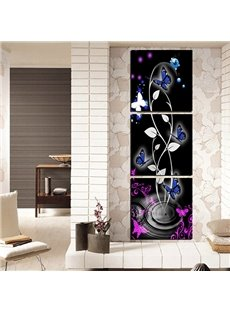 Amazing Abstract Flowers and Butterfly 3-Panel Canvas Wall Art Prints