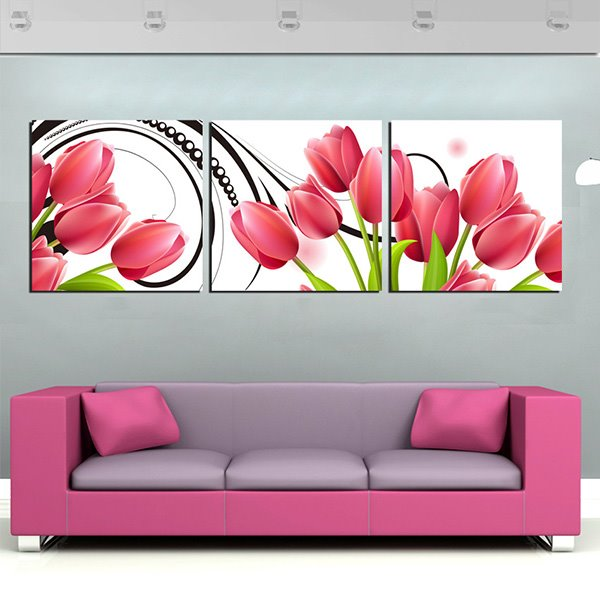 Fabulous Red Tulips 3-Panel Canvas Wall Art Prints