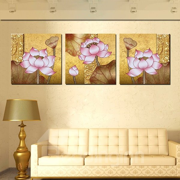 Amazing Beautiful Lotus 3-Panel Canvas Wall Art Prints - beddinginn.com