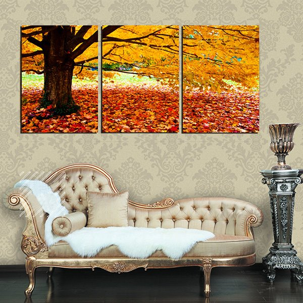 Golden Autumn Tree and Leaves on Ground 3-Panel Canvas Wall Art Prints