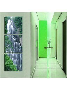 20×20in×3 Panels Waterfall in Forest Hanging Canvas Waterproof and Eco-friendly Framed Prints