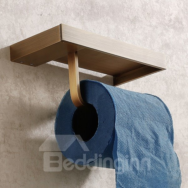 Retro Style Multifunctional 100% Brass Toilet Paper Holder