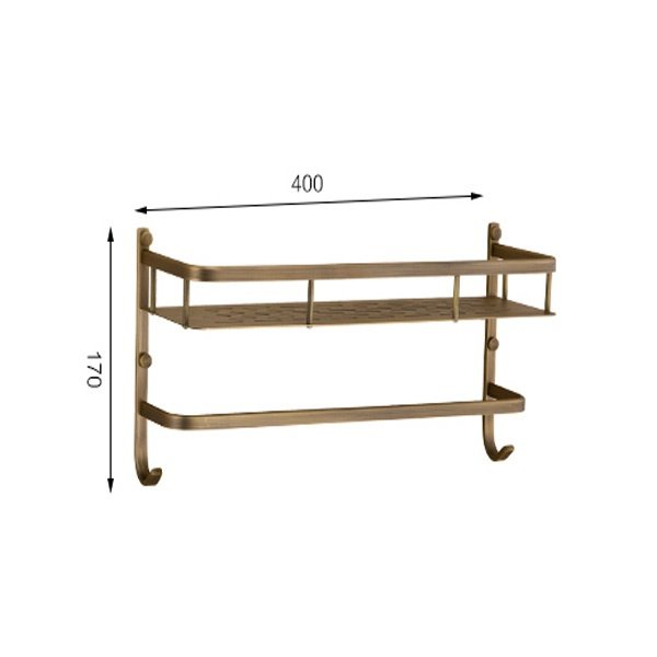 Retro Style High Class 100% Brass Bathroom Shelf