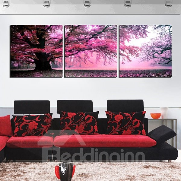 Marvelous Giant Tree with Red Leaves 3-Panel Canvas Wall Art Prints