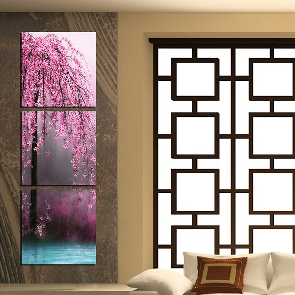 20×20in×3 Panels Cherry Trees beside Lake Hanging Canvas Waterproof and Eco-friendly Framed Prints