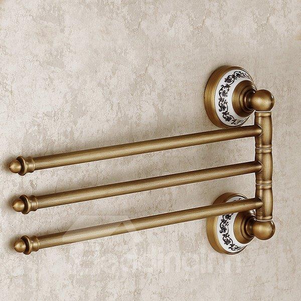 European Retro Style Rotatable Three Layers Brass Tower Bar