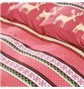 100% Cotton European Style Reindeer Design Red 4-Piece Duvet Cover Sets