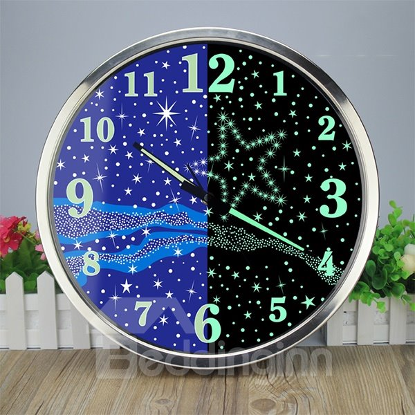 Creative Modern Luminous Bedroom 14 Inches Mute Wall Clock