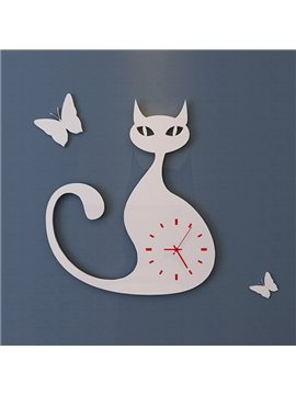 Unique Long Tail Cat Design 3 Colors Decorative Wall Clock