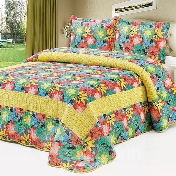 Pastoral Colorful Little Flowers Design Cotton 3-Piece Bed in a Bag