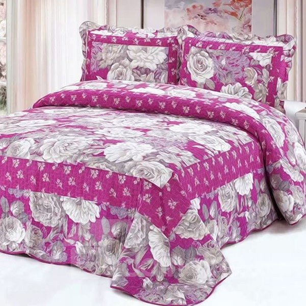 Silvery Flowers Printing with Rosy Background Cotton 3-Piece Bed in a Bag