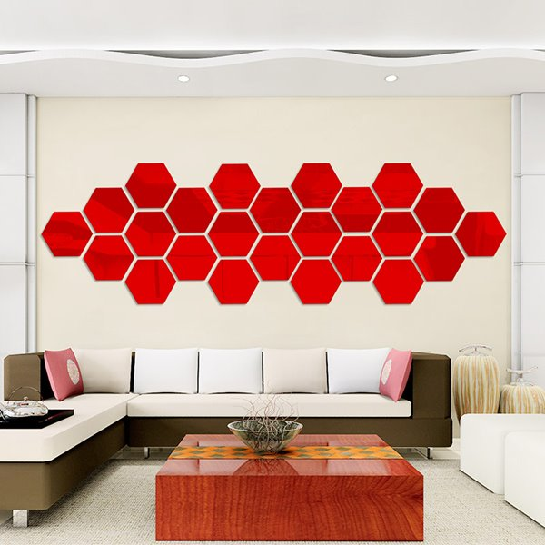 Unique 6-Side Shapes 28-Piece DIY Acrylic Removable Mirror Surface 3D Wall Sticker