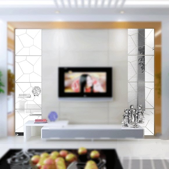 Creative Square Shapes Broken Effect DIY Acrylic Removable Mirror Surface 3D Wall Sticker