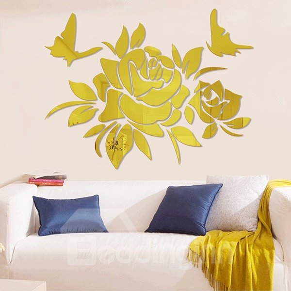 Gorgeous Flowers and Butterfly Acrylic Removable 3D Wall Sticker