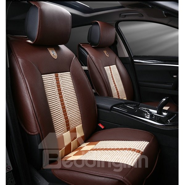 Special Designed And Comfortable Ice Silk Material Plaid Universal Five Car Seat Covers