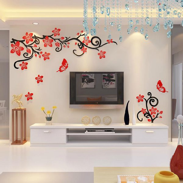 71 Fabulous Acrylic 3D Flowers And Vines TV Wall Bedroom 3D Wall Stickers