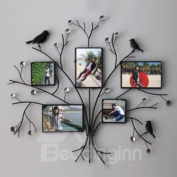 Simple Creative Iron Tree Design with Black Birds 5-Frame Wall Photo Frame
