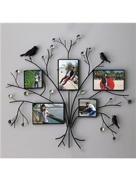 Simple Creative Iron Tree Design with Black Birds 5-Frame Wall Photo Frame